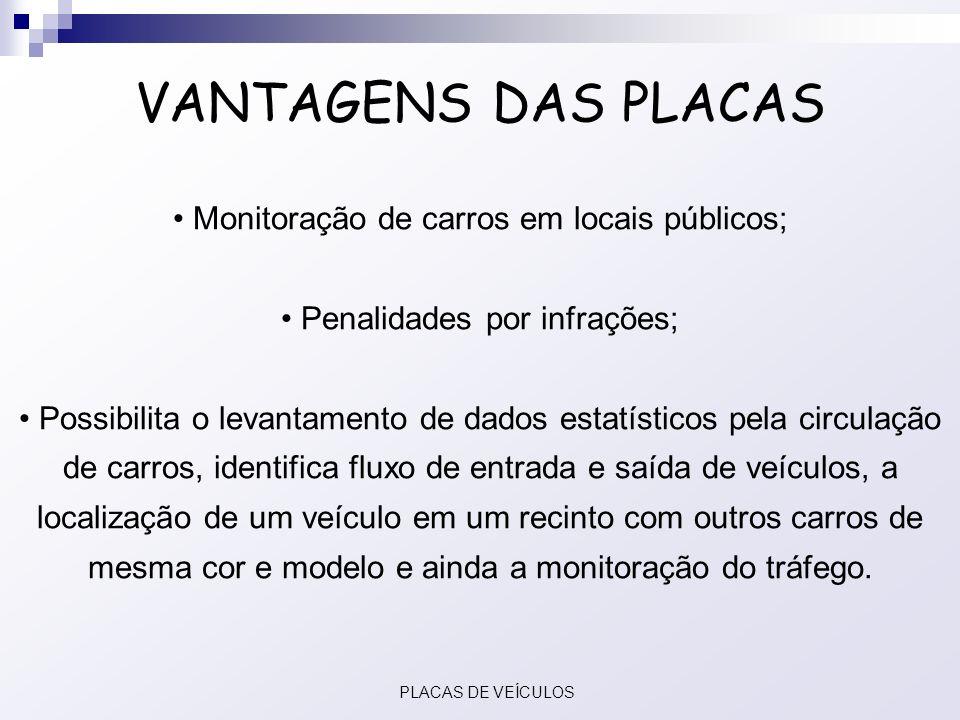 VANTAGENS DAS PLACAS Monitoração de carros em locais públicos;