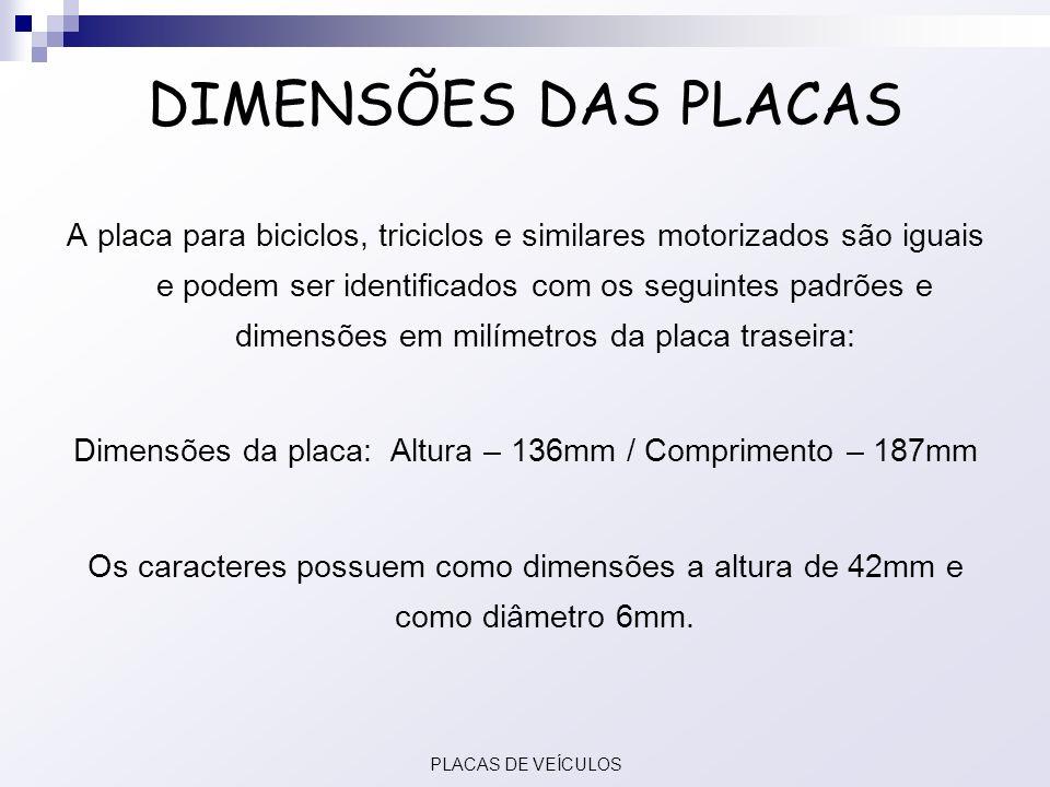 Dimensões da placa: Altura – 136mm / Comprimento – 187mm