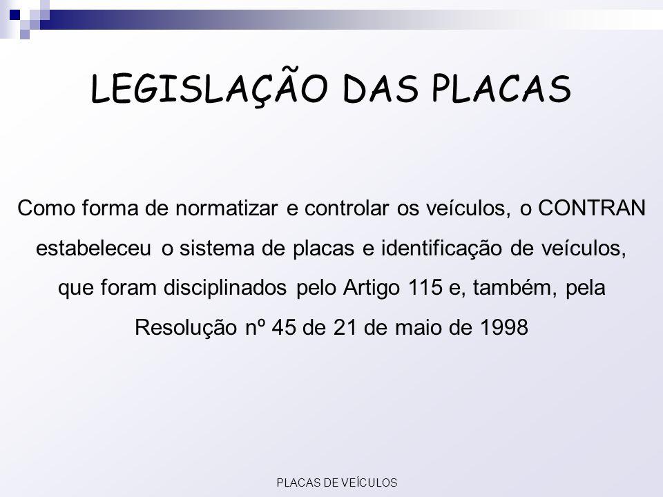 LEGISLAÇÃO DAS PLACAS Como forma de normatizar e controlar os veículos, o CONTRAN estabeleceu o sistema de placas e identificação de veículos,