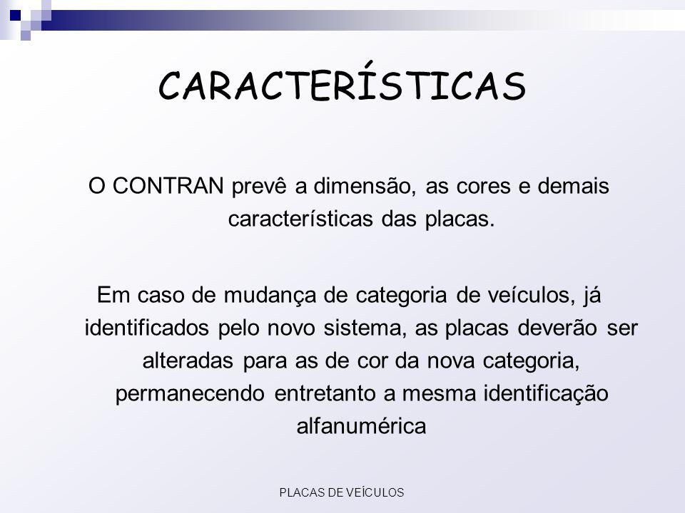 CARACTERÍSTICAS O CONTRAN prevê a dimensão, as cores e demais características das placas.