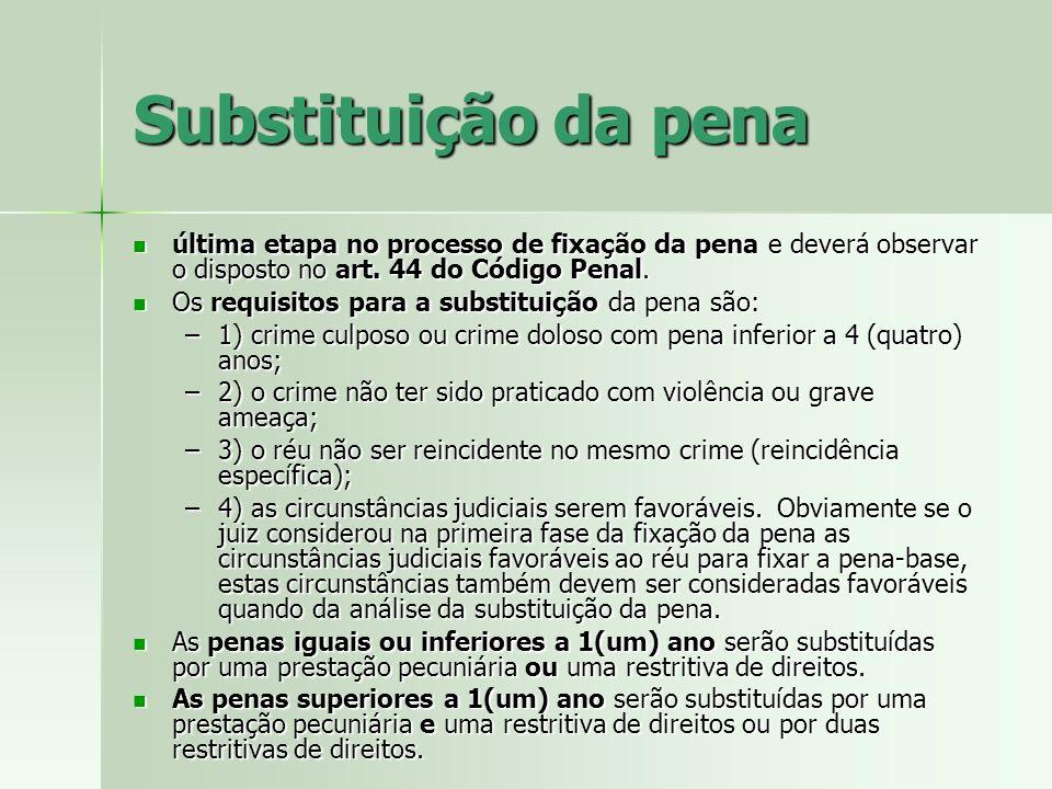 Substituição da pena última etapa no processo de fixação da pena e deverá observar o disposto no art. 44 do Código Penal.