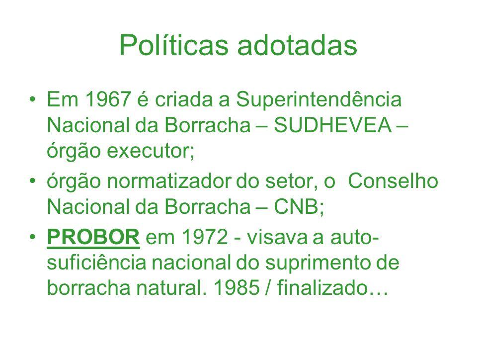 Políticas adotadas Em 1967 é criada a Superintendência Nacional da Borracha – SUDHEVEA – órgão executor;