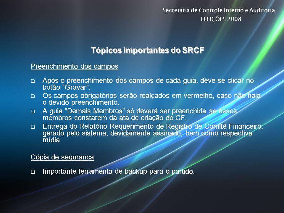 Tópicos importantes do SRCF