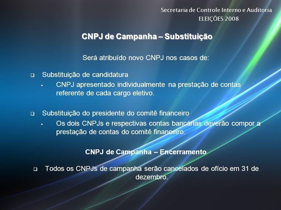 CNPJ de Campanha – Substituição