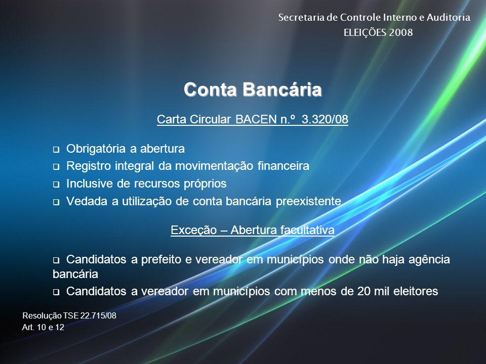 Conta Bancária Carta Circular BACEN n.º 3.320/08