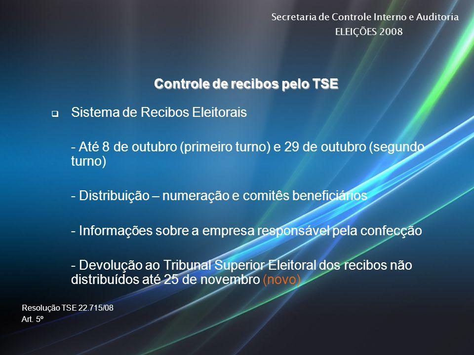 Controle de recibos pelo TSE