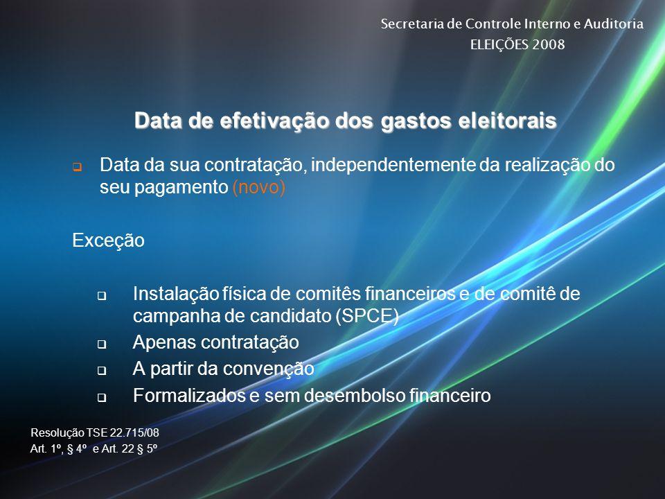 Data de efetivação dos gastos eleitorais