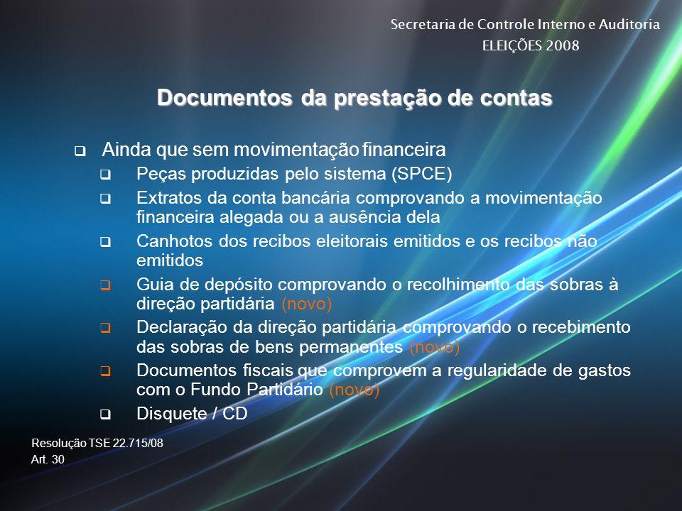 Documentos da prestação de contas