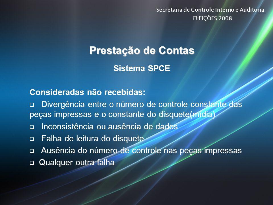 Prestação de Contas Sistema SPCE Consideradas não recebidas: