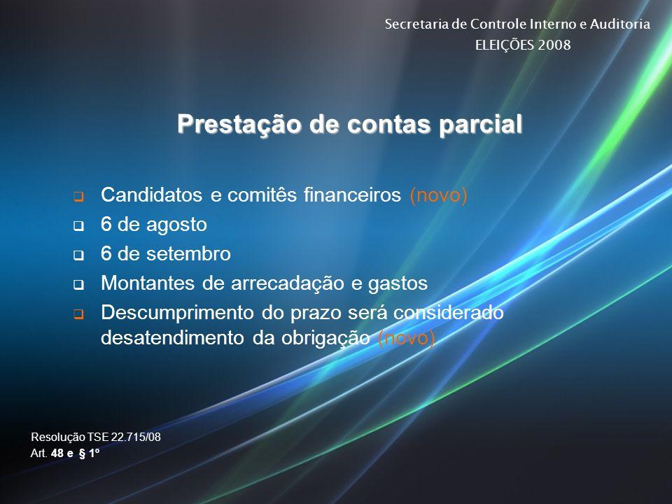Prestação de contas parcial
