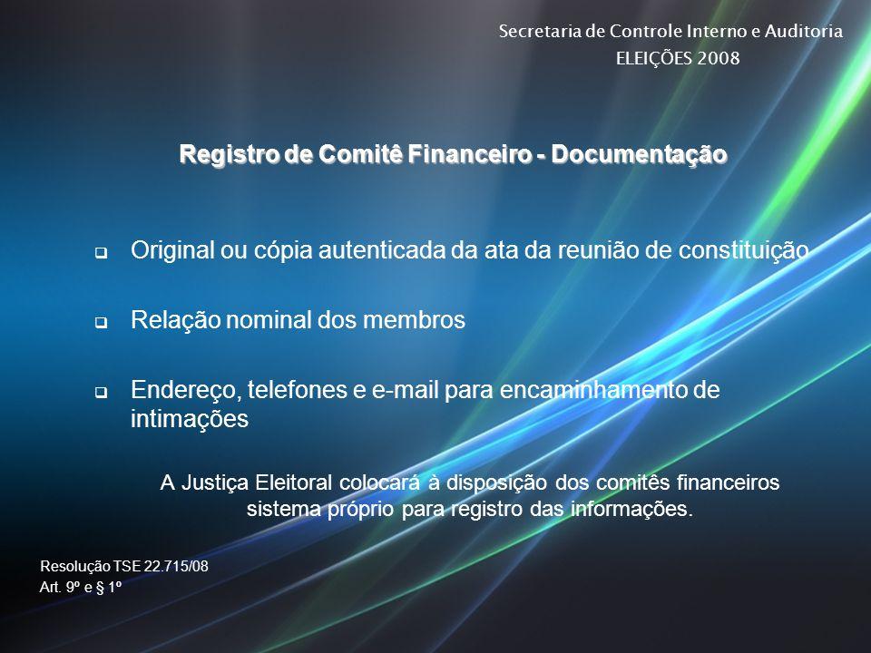 Registro de Comitê Financeiro - Documentação