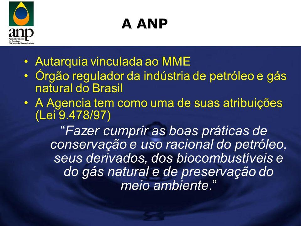 A ANP Autarquia vinculada ao MME. Órgão regulador da indústria de petróleo e gás natural do Brasil.