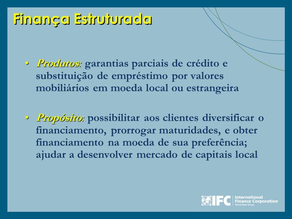 Finança Estruturada Produtos: garantias parciais de crédito e substituição de empréstimo por valores mobiliários em moeda local ou estrangeira.