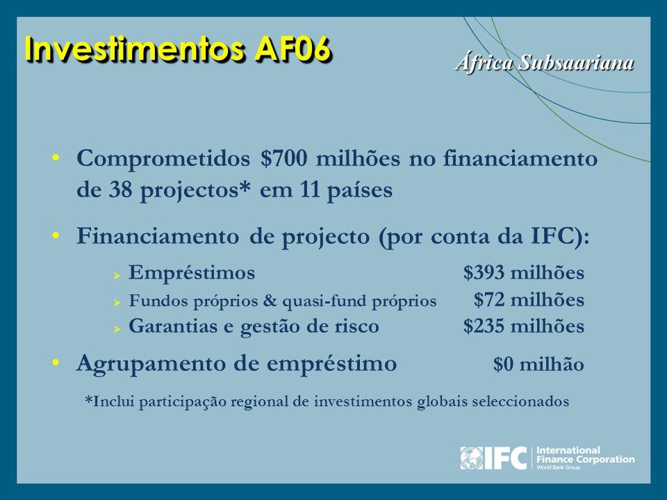 *Inclui participação regional de investimentos globais seleccionados