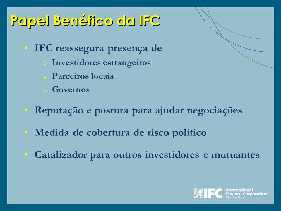Papel Benéfico da IFC IFC reassegura presença de