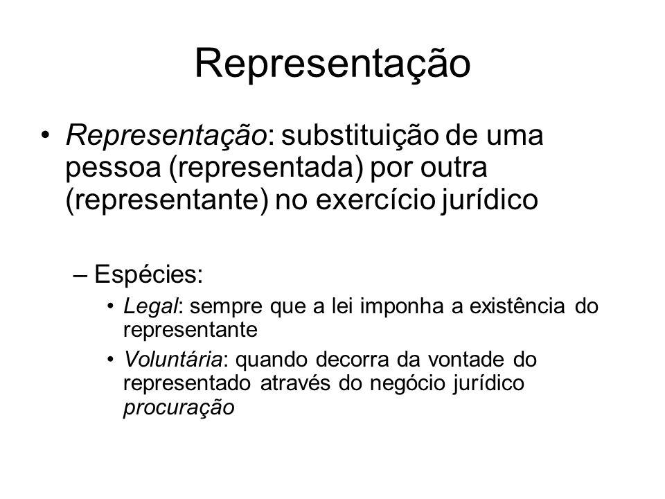 Representação Representação: substituição de uma pessoa (representada) por outra (representante) no exercício jurídico.