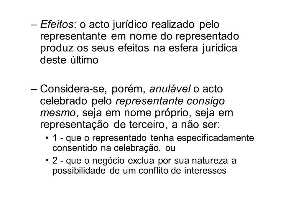 Efeitos: o acto jurídico realizado pelo representante em nome do representado produz os seus efeitos na esfera jurídica deste último