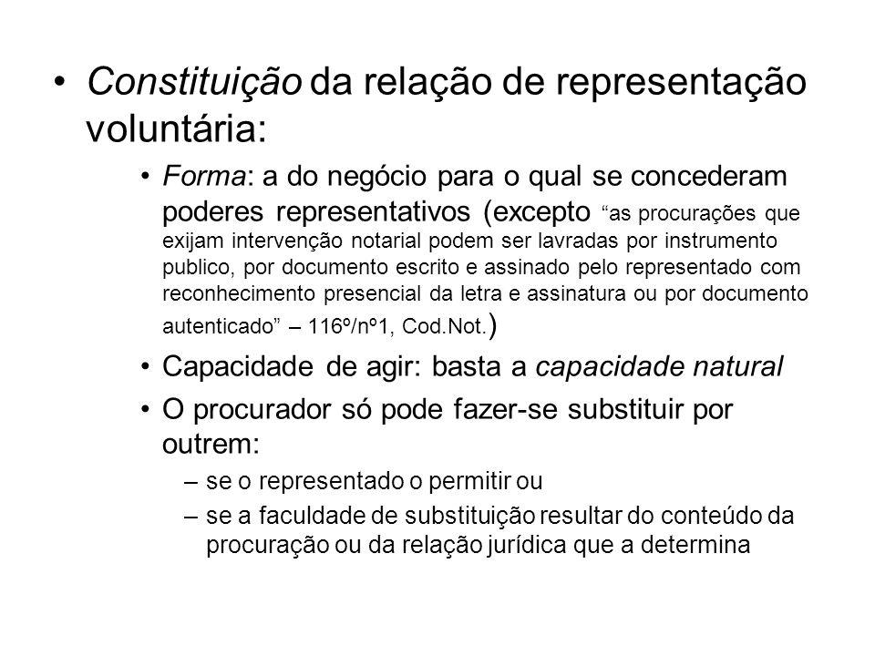 Constituição da relação de representação voluntária: