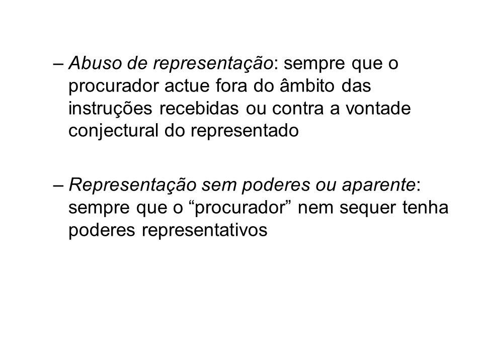 Abuso de representação: sempre que o procurador actue fora do âmbito das instruções recebidas ou contra a vontade conjectural do representado