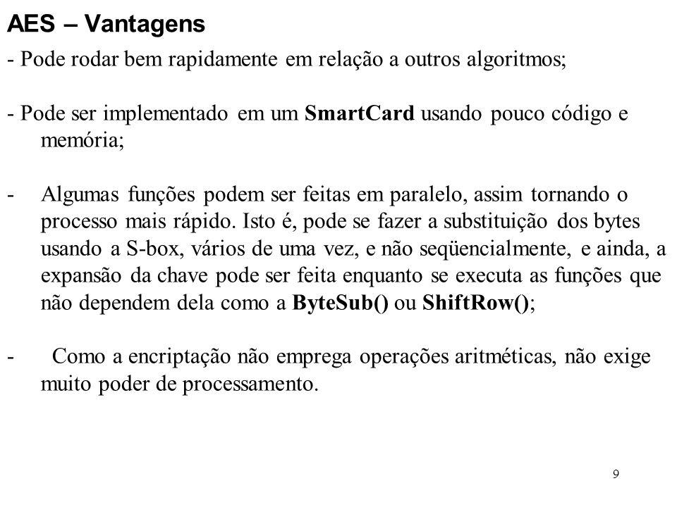 AES – Vantagens - Pode rodar bem rapidamente em relação a outros algoritmos; - Pode ser implementado em um SmartCard usando pouco código e memória;