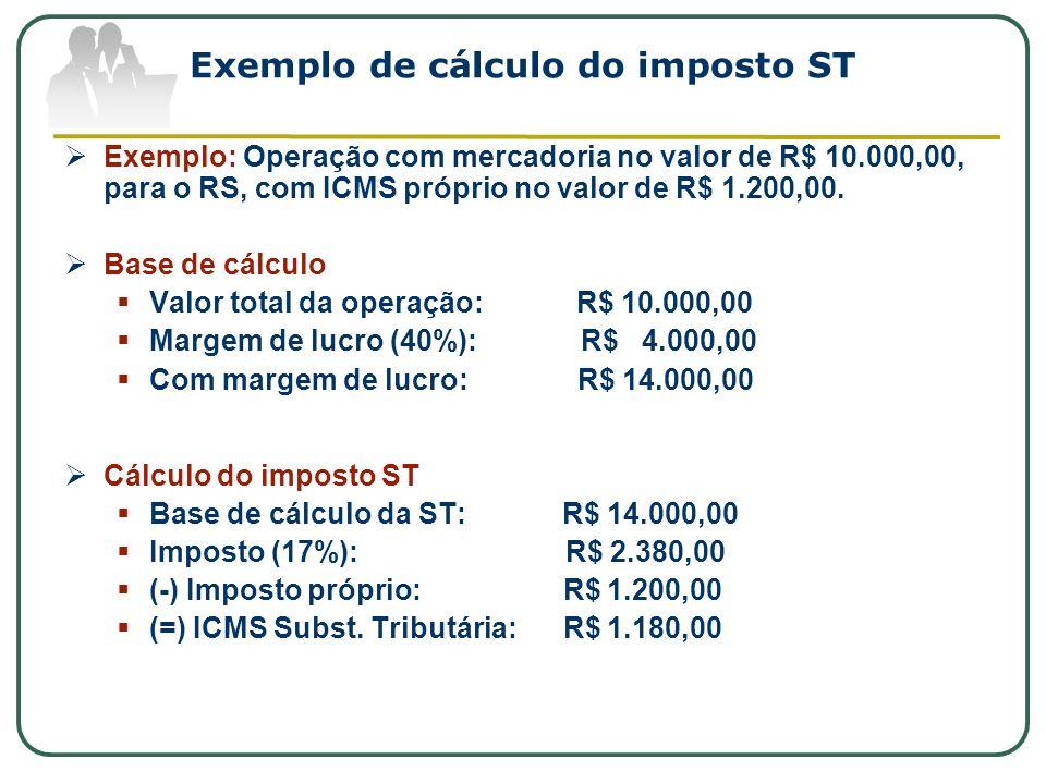 Exemplo de cálculo do imposto ST