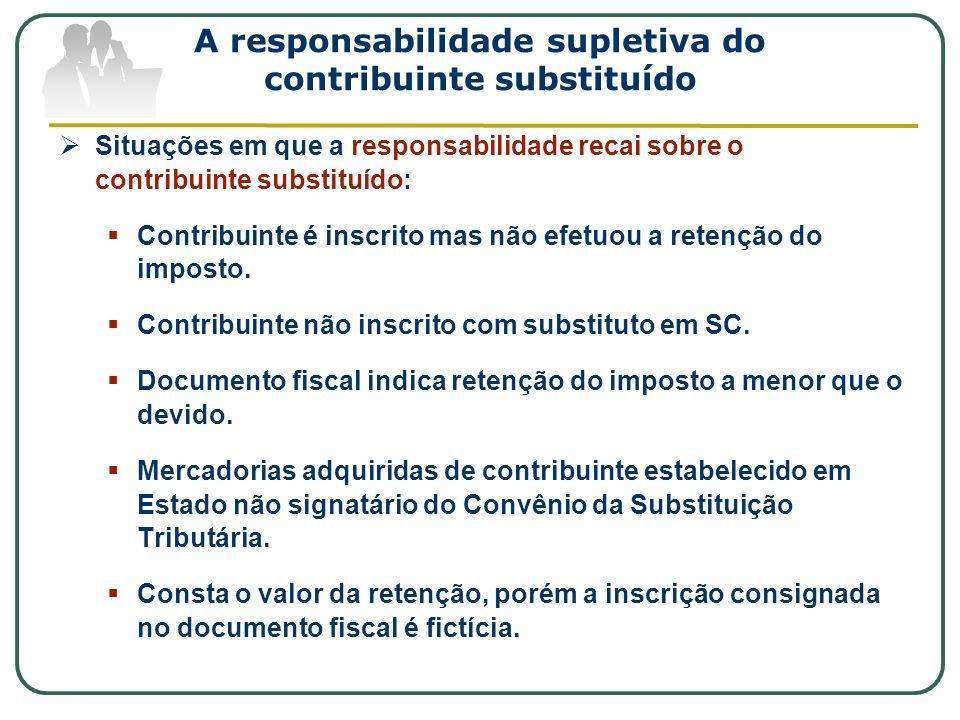 A responsabilidade supletiva do contribuinte substituído
