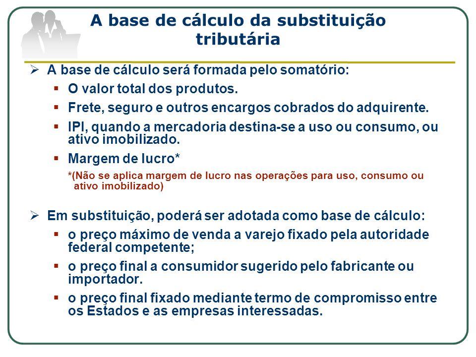 A base de cálculo da substituição tributária