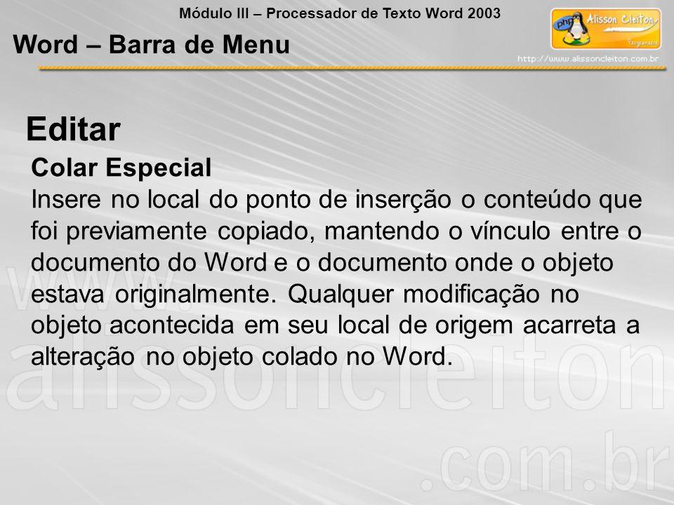 Editar Word – Barra de Menu Colar Especial