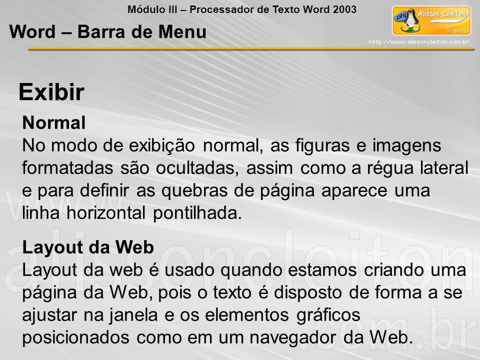 Exibir Word – Barra de Menu Normal