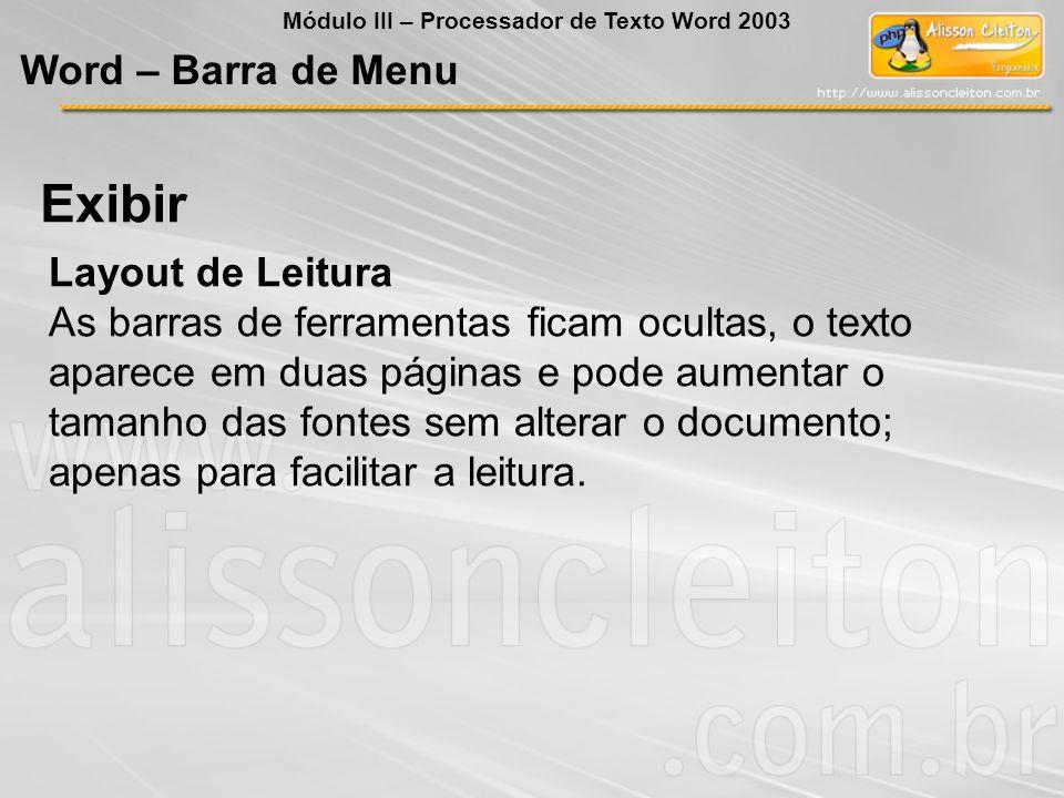 Exibir Word – Barra de Menu Layout de Leitura