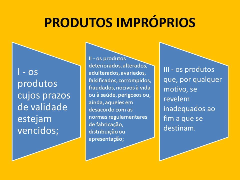 PRODUTOS IMPRÓPRIOS I - os produtos cujos prazos de validade estejam vencidos;