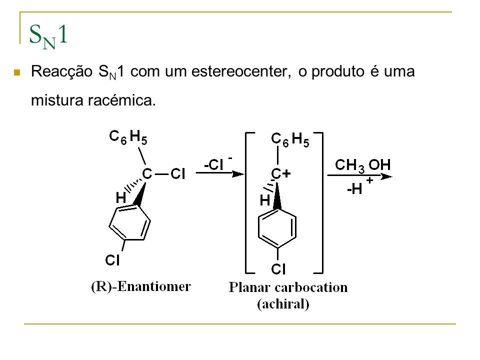 SN1 Reacção SN1 com um estereocenter, o produto é uma mistura racémica.