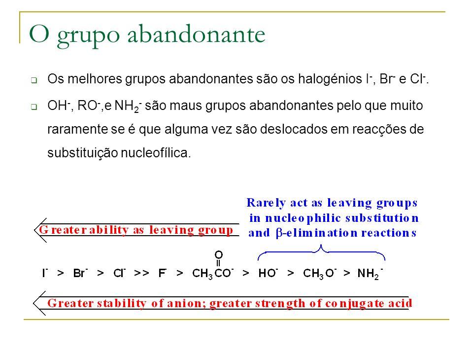 O grupo abandonante Os melhores grupos abandonantes são os halogénios I-, Br- e Cl-.