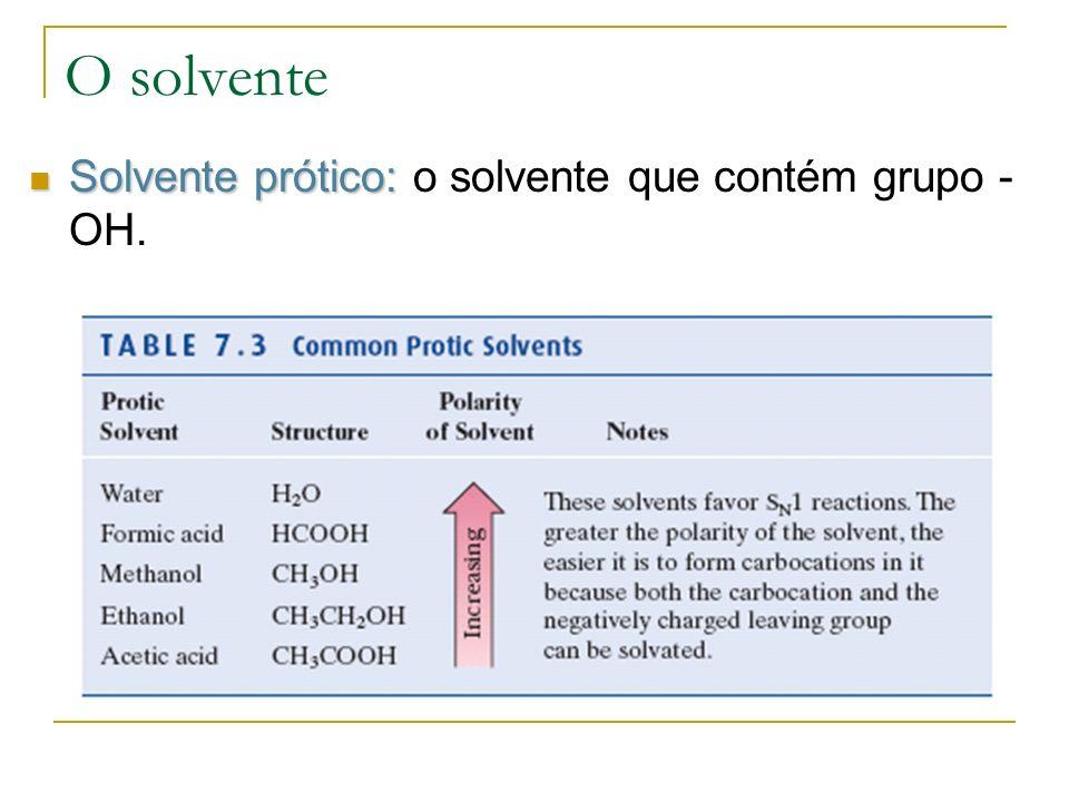 O solvente Solvente prótico: o solvente que contém grupo -OH.