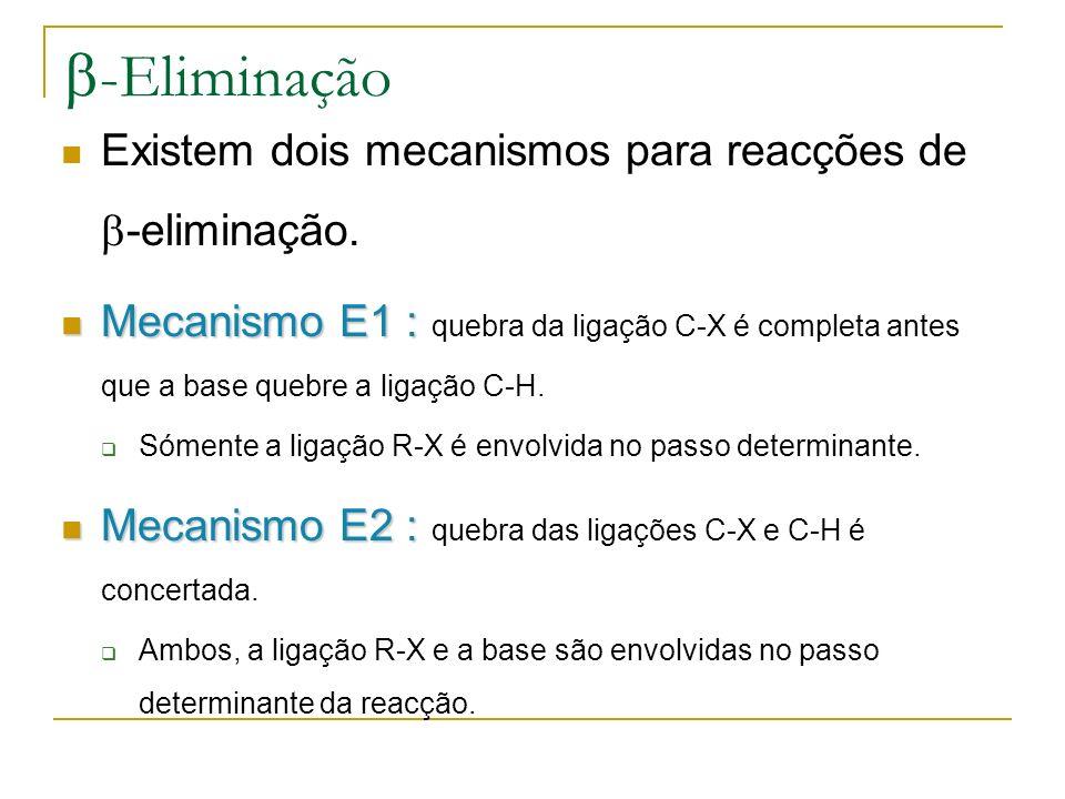 b-Eliminação Existem dois mecanismos para reacções de -eliminação.