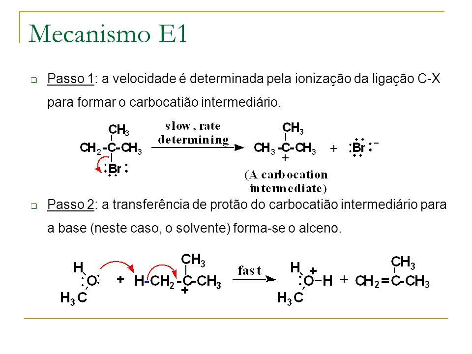 Mecanismo E1 Passo 1: a velocidade é determinada pela ionização da ligação C-X para formar o carbocatião intermediário.
