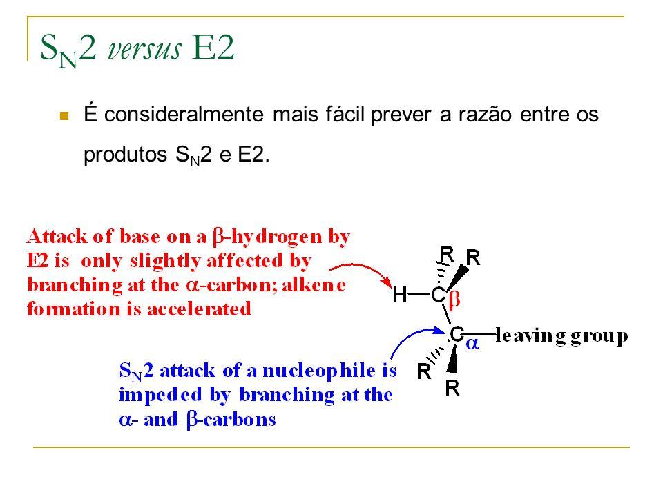 SN2 versus E2 É consideralmente mais fácil prever a razão entre os produtos SN2 e E2.