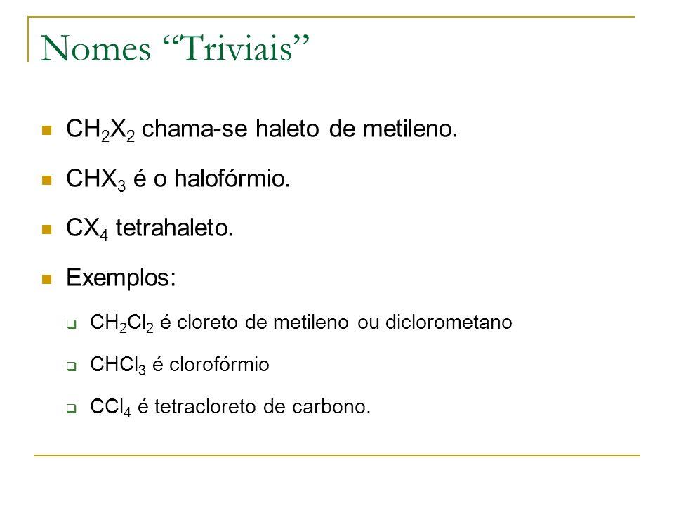 Nomes Triviais CH2X2 chama-se haleto de metileno.