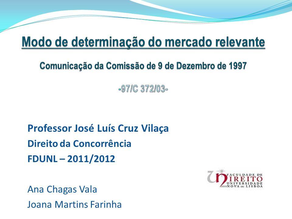 Modo de determinação do mercado relevante Comunicação da Comissão de 9 de Dezembro de 1997 -97/C 372/03-