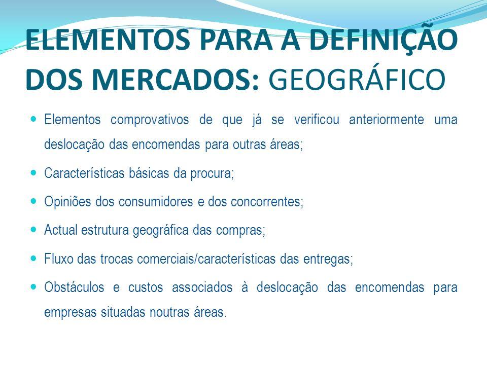ELEMENTOS PARA A DEFINIÇÃO DOS MERCADOS: GEOGRÁFICO