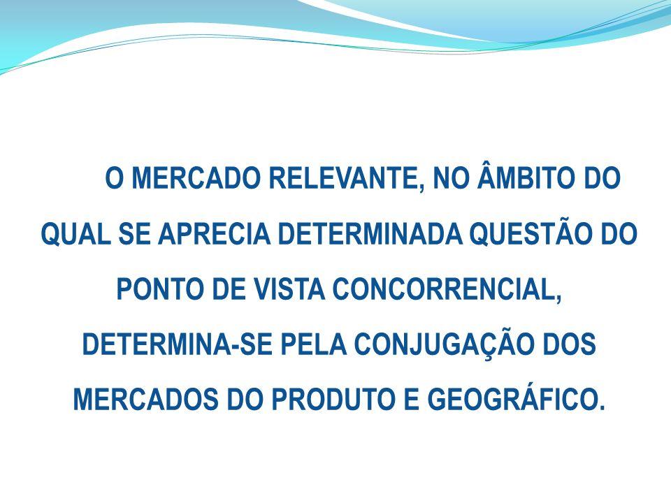 O MERCADO RELEVANTE, NO ÂMBITO DO QUAL SE APRECIA DETERMINADA QUESTÃO DO PONTO DE VISTA CONCORRENCIAL, DETERMINA-SE PELA CONJUGAÇÃO DOS MERCADOS DO PRODUTO E GEOGRÁFICO.