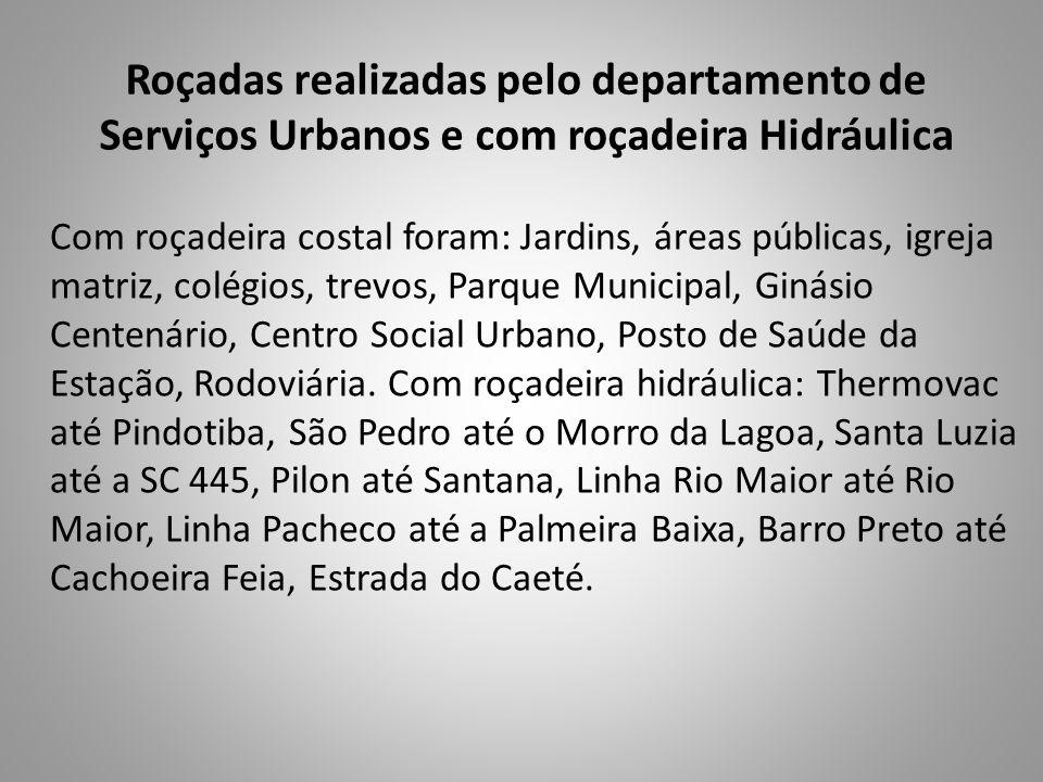 Roçadas realizadas pelo departamento de Serviços Urbanos e com roçadeira Hidráulica