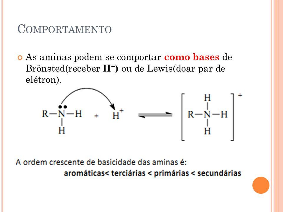 Comportamento As aminas podem se comportar como bases de Brönsted(receber H+) ou de Lewis(doar par de elétron).