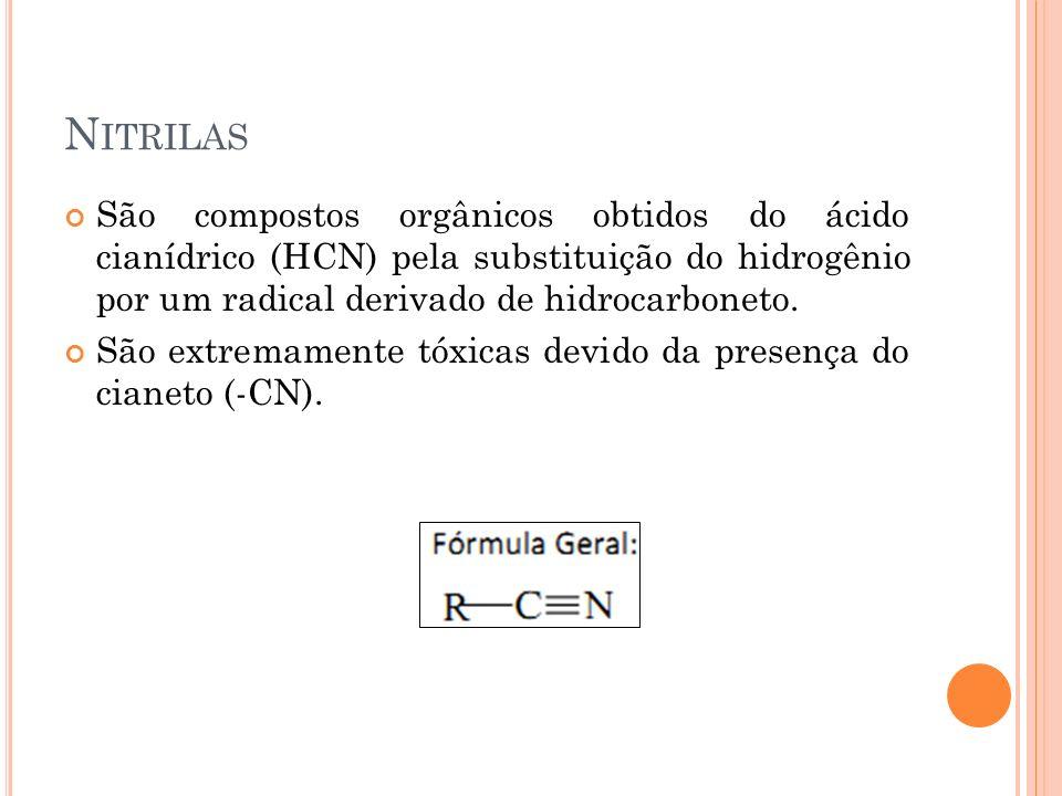 Nitrilas São compostos orgânicos obtidos do ácido cianídrico (HCN) pela substituição do hidrogênio por um radical derivado de hidrocarboneto.
