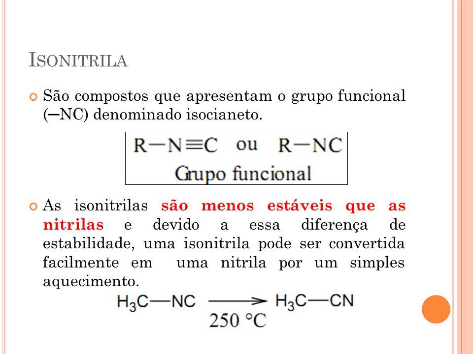 Isonitrila São compostos que apresentam o grupo funcional (─NC) denominado isocianeto.