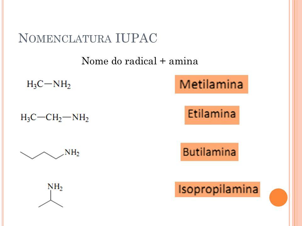 Nomenclatura IUPAC Nome do radical + amina