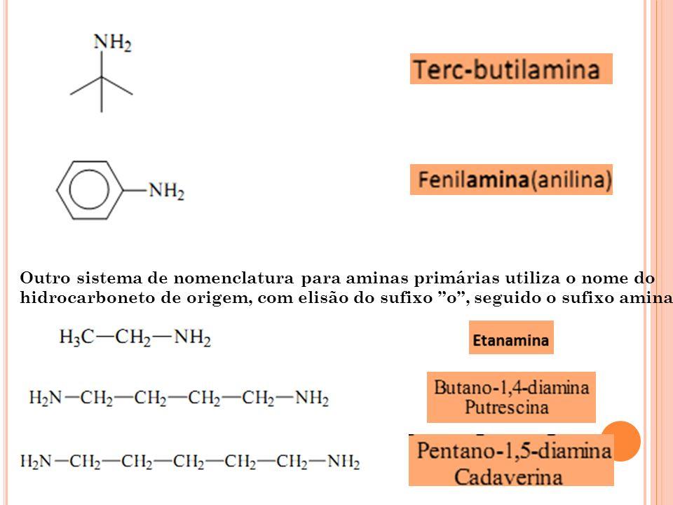 Outro sistema de nomenclatura para aminas primárias utiliza o nome do