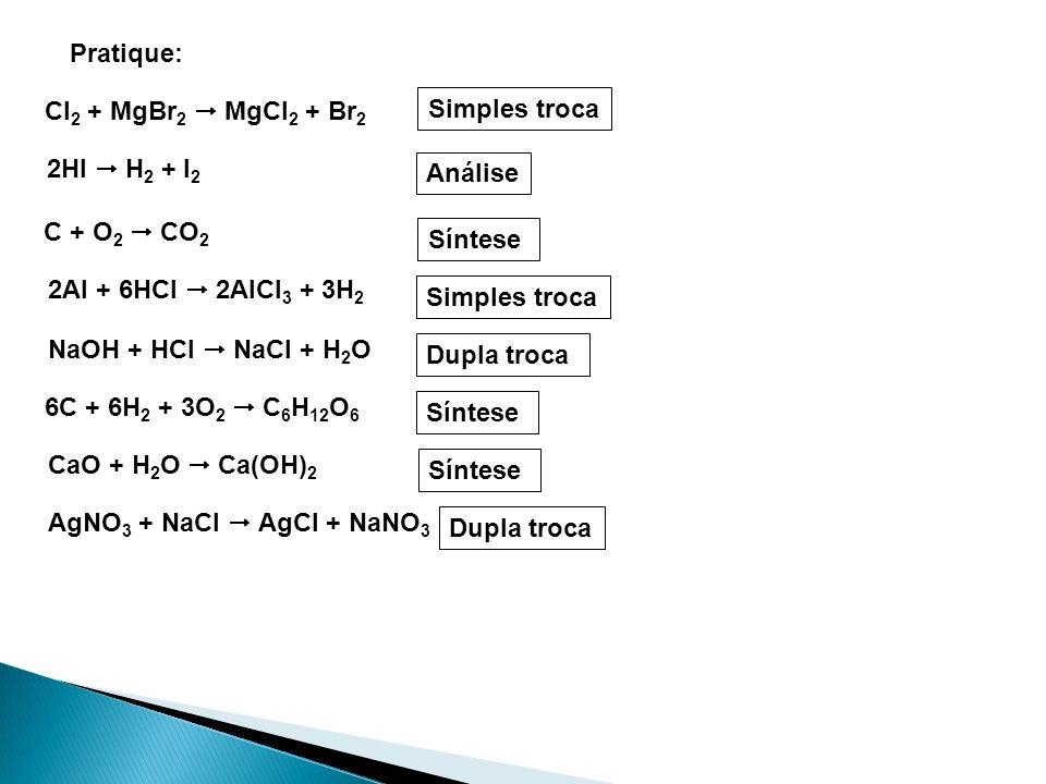 Pratique: Cl2 + MgBr2  MgCl2 + Br2. Simples troca. 2HI  H2 + I2. Análise. C + O2  CO2. Síntese.