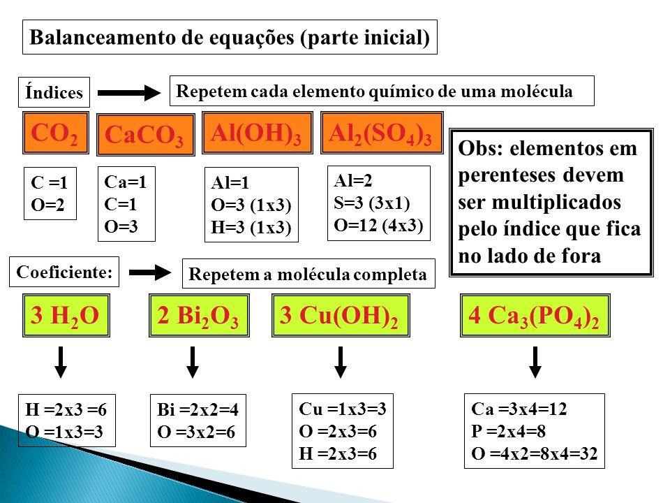 CO2 CaCO3 Al(OH)3 Al2(SO4)3 3 H2O 2 Bi2O3 3 Cu(OH)2 4 Ca3(PO4)2
