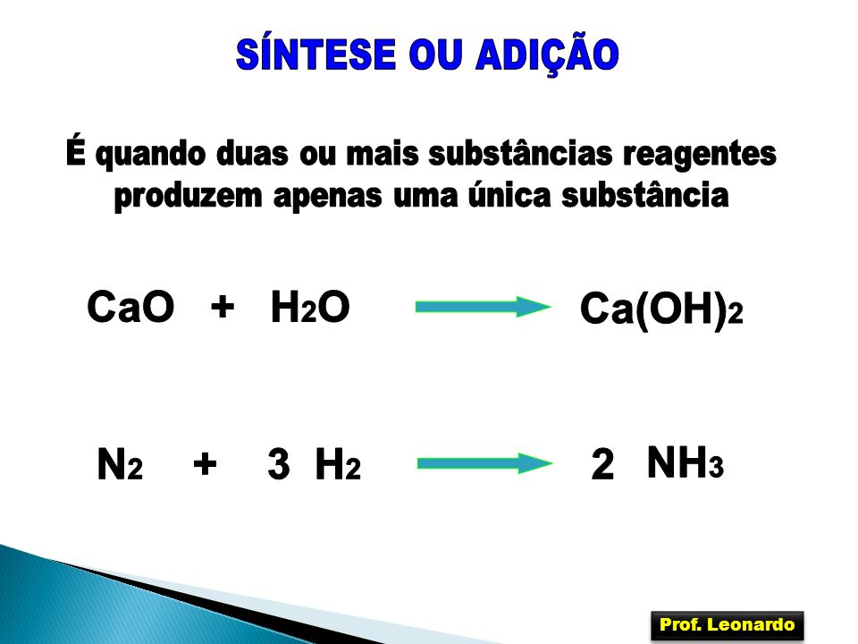 CaO + H2O Ca(OH)2 N2 + 3 H2 2 NH3 SÍNTESE OU ADIÇÃO